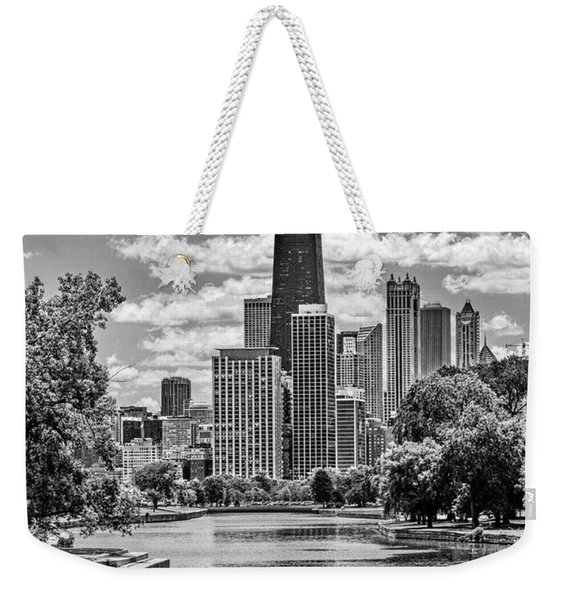 Chicago Lincoln Park Lagoon Black And White Weekender Tote Bag