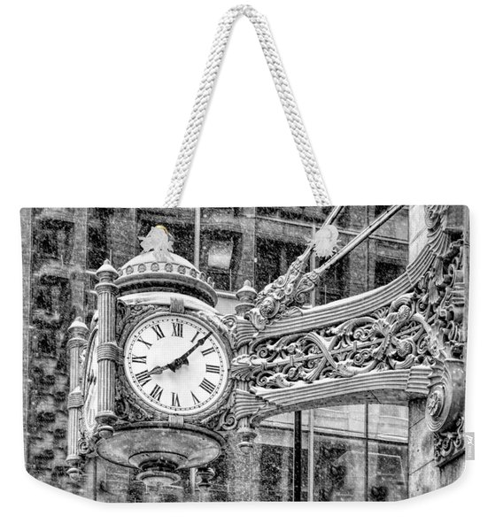 Chicago Marshall Field State Street Clock Black And White Weekender Tote Bag