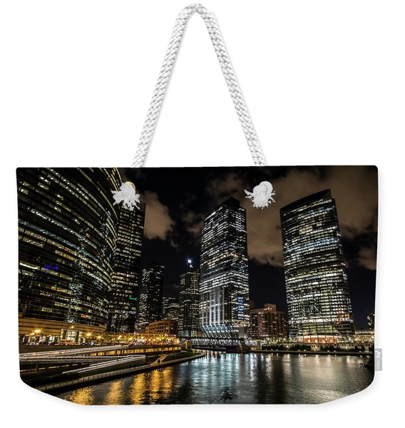 Chicago River And Night Skyline Weekender Tote Bag