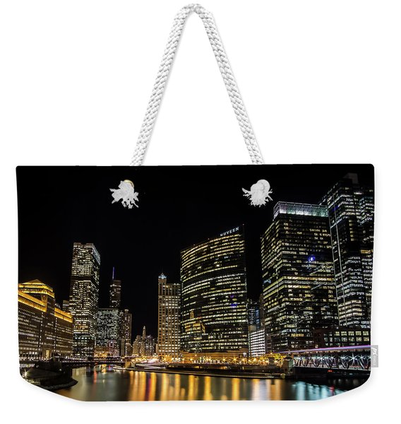 Chicago Night Skyline From Wolf Point Weekender Tote Bag