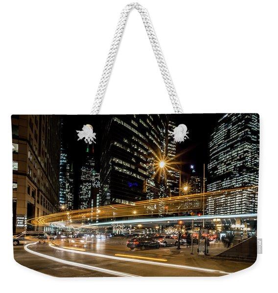 Chicago Nighttime Time Exposure Weekender Tote Bag