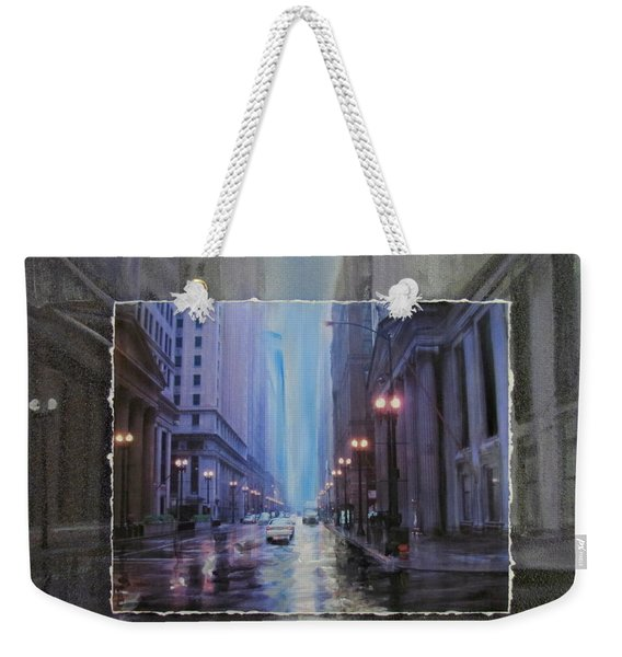 Chicago Rainy Street Expanded Weekender Tote Bag