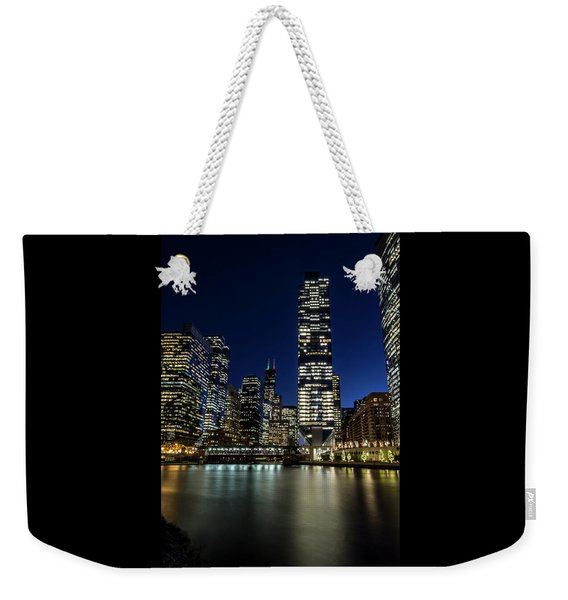 Chicago River And Skyline At Dusk  Weekender Tote Bag
