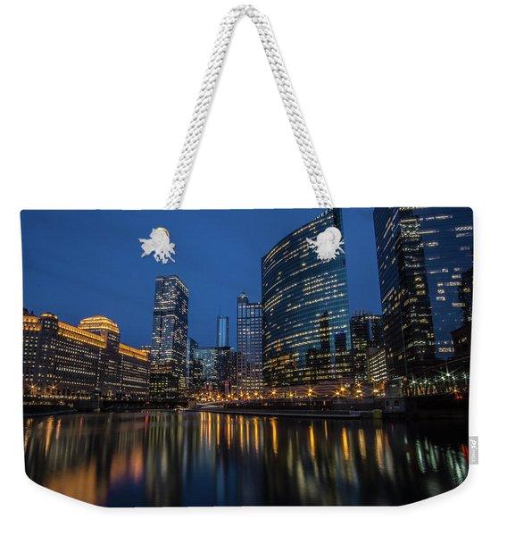 Chicago River Reflections At Dusk  Weekender Tote Bag