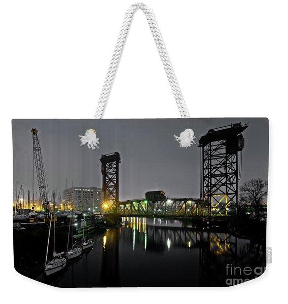 Chicago River Scene At Night Weekender Tote Bag