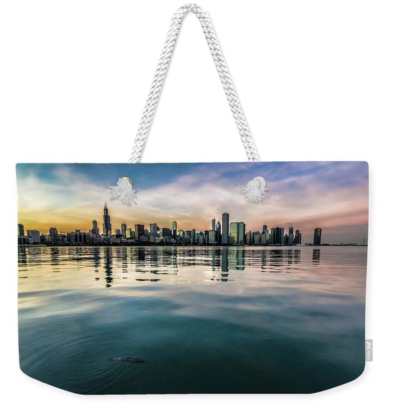 Chicago Skyline And Fish At Dusk Weekender Tote Bag