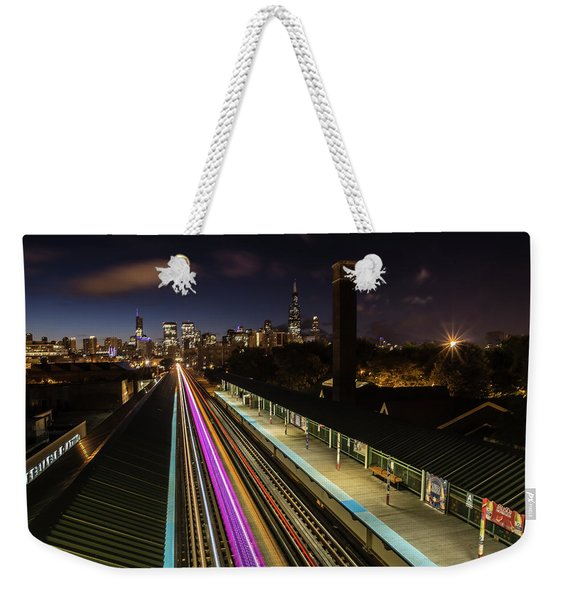 Chicago Skyline And Train Lights Weekender Tote Bag