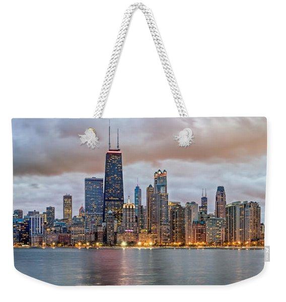 Chicago Skyline At Dusk Weekender Tote Bag