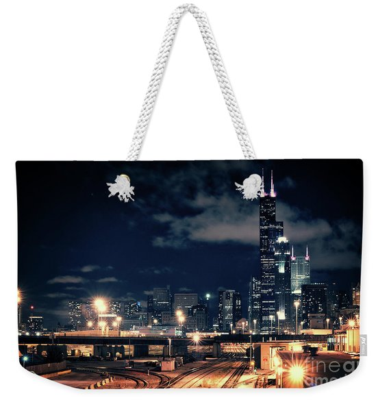 Chicago Skyline Cityscape At Night Weekender Tote Bag