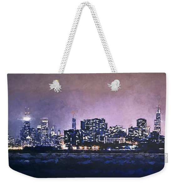 Chicago Skyline From Evanston Weekender Tote Bag