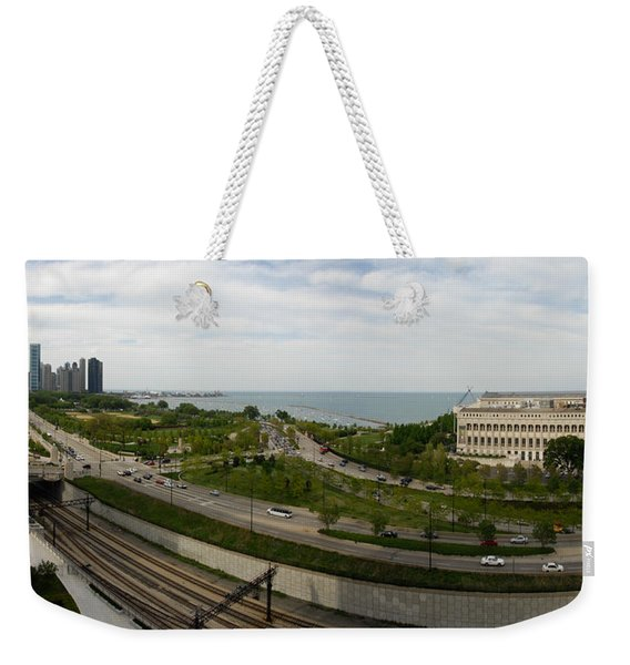 Chicago Skyline Showing Monroe Harbor Weekender Tote Bag