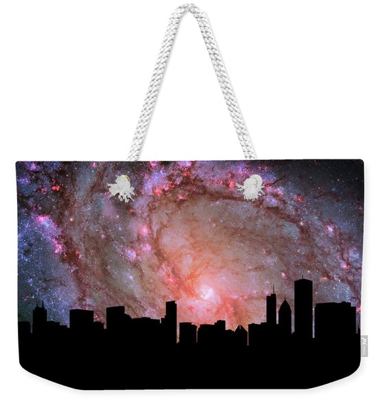 Chicago Skyline Silhouette Galaxy Weekender Tote Bag