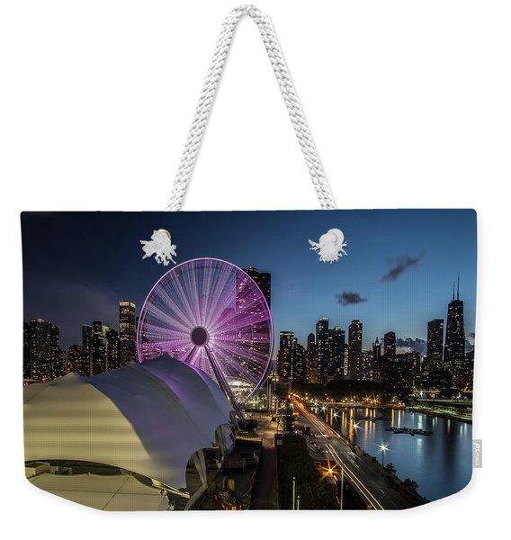 Chicago Skyline With New Ferris Wheel At Dusk Weekender Tote Bag