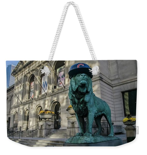 Chicago's Art Institute With Cubs Hat Weekender Tote Bag
