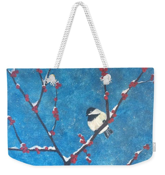 Weekender Tote Bag featuring the painting Chickadee Bird by Denise Tomasura