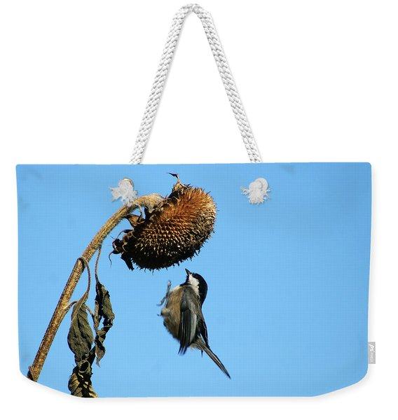 Chickadee In Flight Weekender Tote Bag