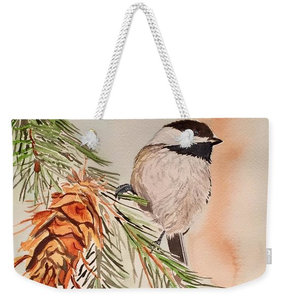 Chickadee In The Pine Weekender Tote Bag