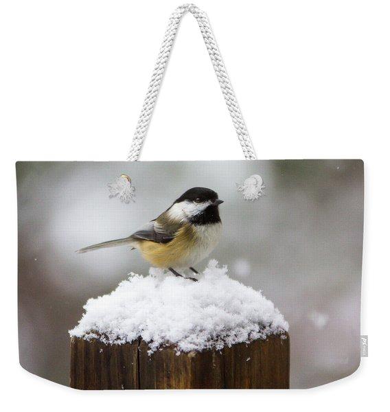 Chickadee In The Snow Weekender Tote Bag