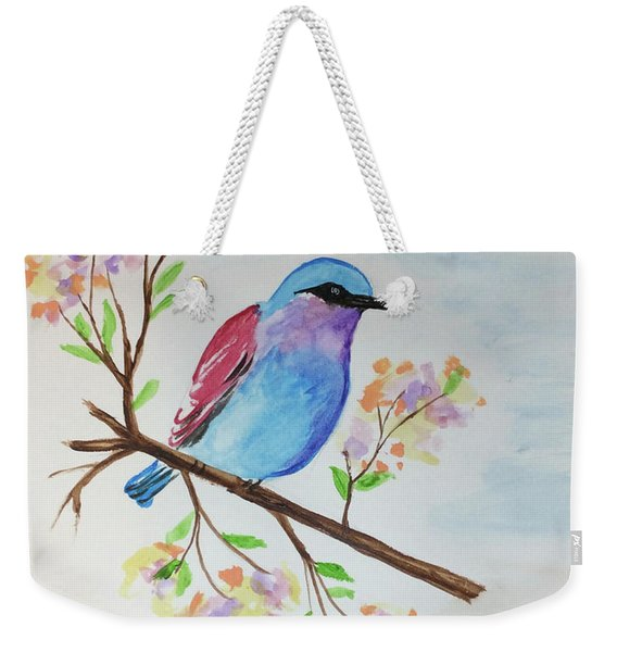 Chickadee On A Branch Weekender Tote Bag