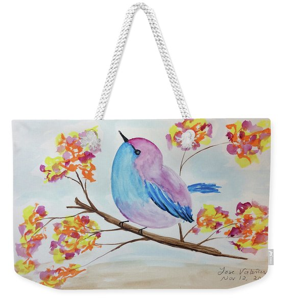 Chickadee On A Branch With Head Up Weekender Tote Bag