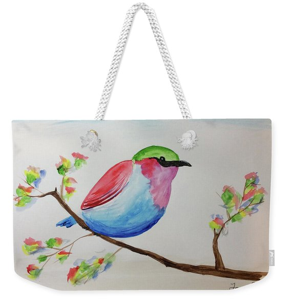 Chickadee With Green Head On A Branch Weekender Tote Bag