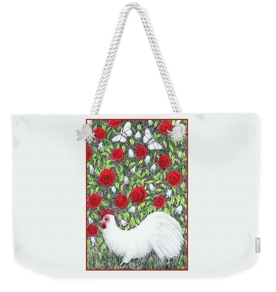 Chicken And Butterflies In The Flowers Weekender Tote Bag