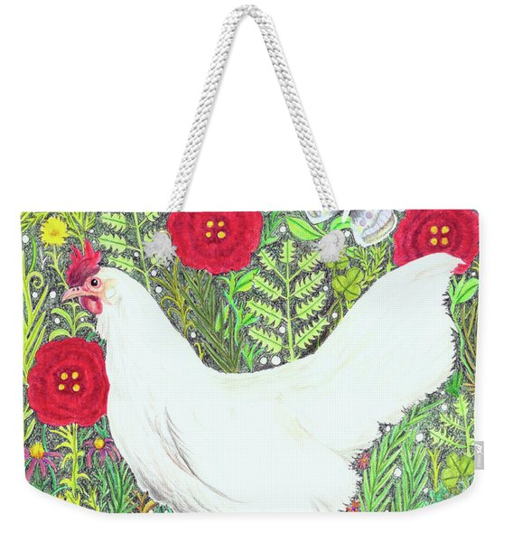 Chicken With Millefleurs And Butterflies  Weekender Tote Bag