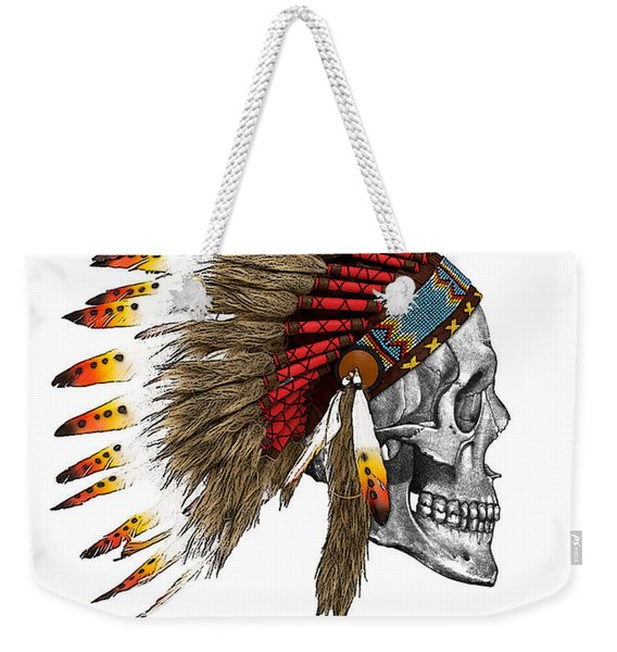Chief Headdress On Human Skull Native American Art Weekender Tote Bag