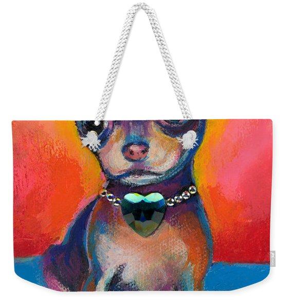 Chihuahua Dog Portrait Weekender Tote Bag