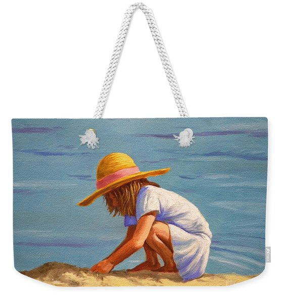 Child Playing In The Sand Weekender Tote Bag
