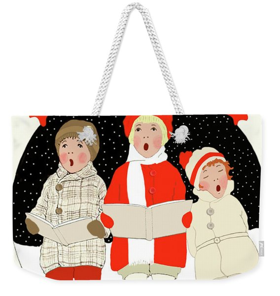 Weekender Tote Bag featuring the painting Children Caroling At Christmas by Marian Cates