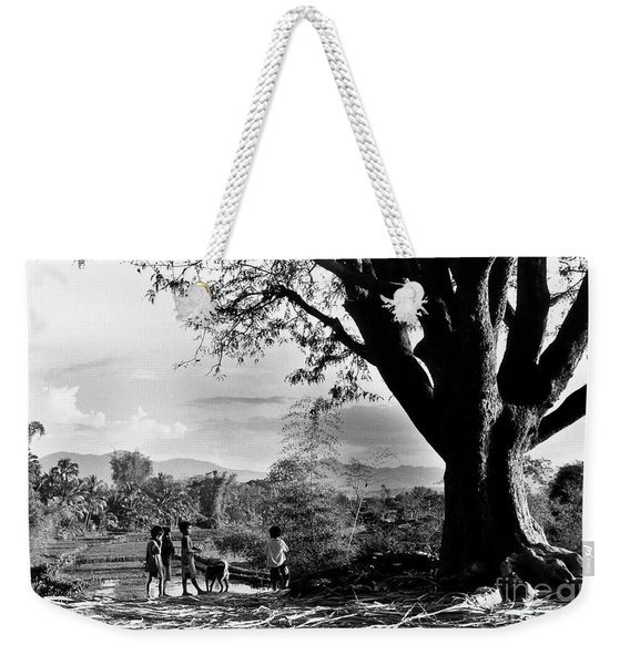 Children Of Central Highland Are Playing With A Dog Weekender Tote Bag