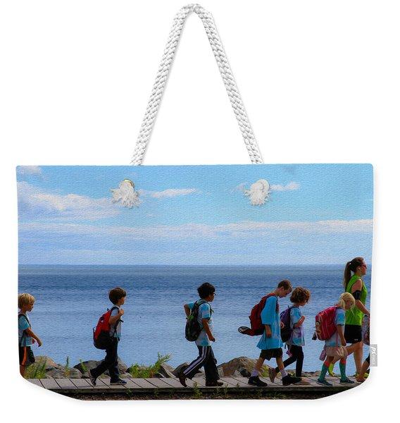 Children On Lake Walk Weekender Tote Bag