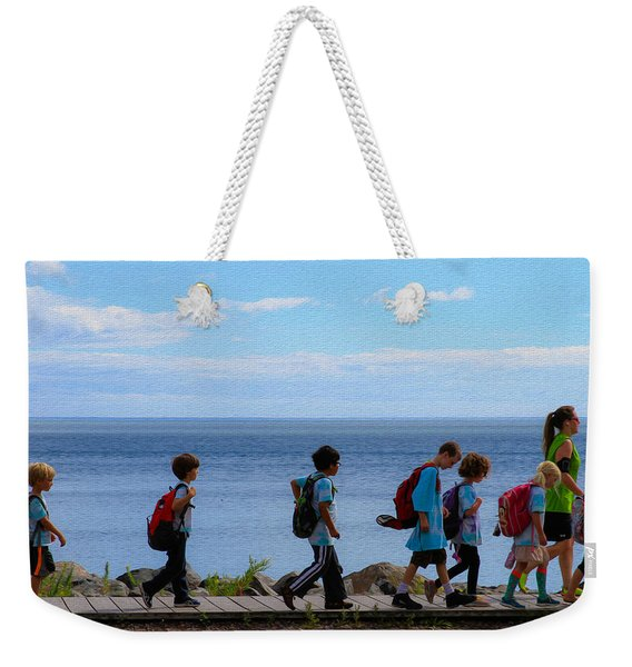 Children On Lake Walk Weekender Tote Bag