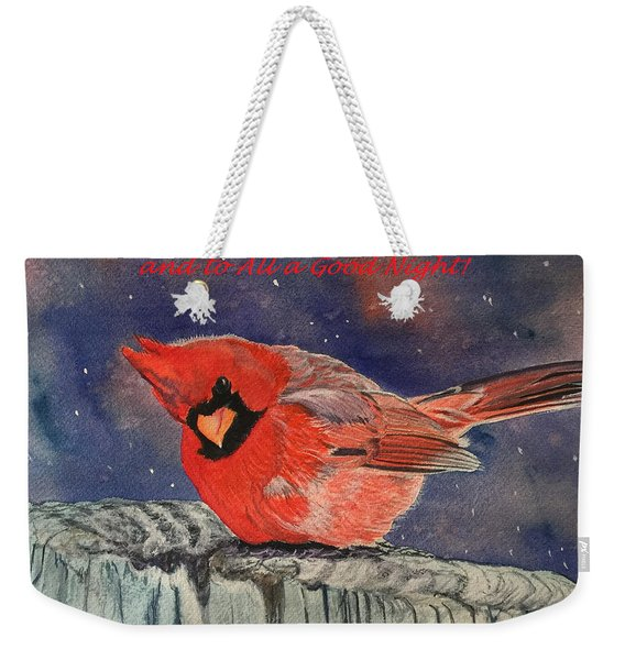 Chilly Bird Christmas Card Weekender Tote Bag