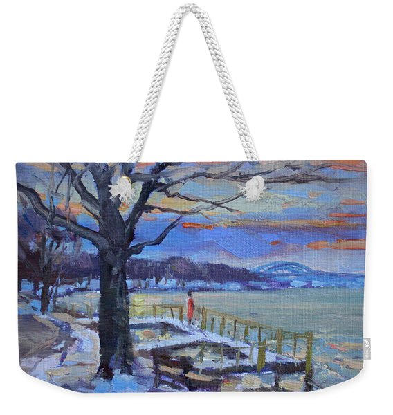 Chilly Sunset In Niagara River Weekender Tote Bag