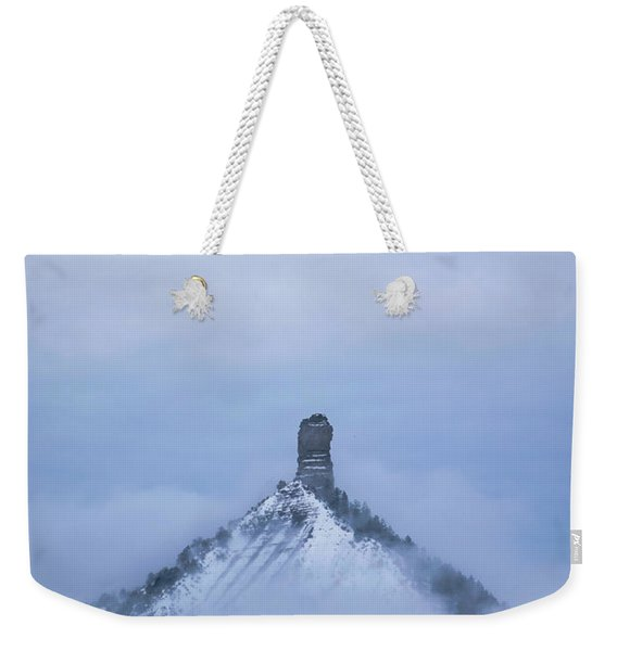 Weekender Tote Bag featuring the photograph Chimney Rock Rising by Jason Coward