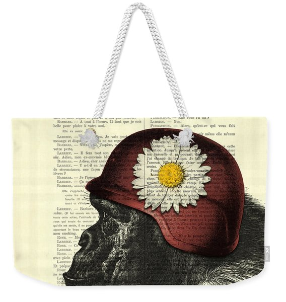 Chimpanzee With Helmet Daisy Flower Dictionary Art Weekender Tote Bag