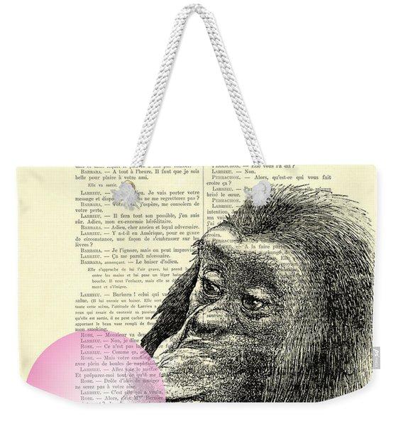 Chimpanzee Pink Bubblegum Nursery Girl's Bedroom Weekender Tote Bag