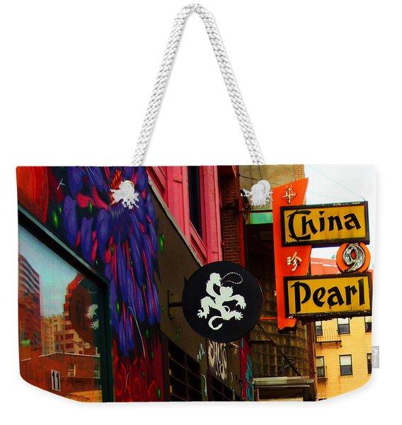 China Pearl Sign, Chinatown, Boston, Massachusetts Weekender Tote Bag
