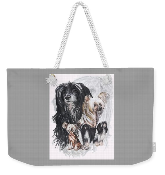 Weekender Tote Bag featuring the mixed media Chinese Crested And Powderpuff Medley by Barbara Keith