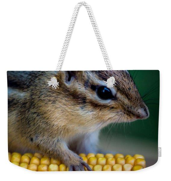 Chipmunk Goes Wild For Corn Weekender Tote Bag