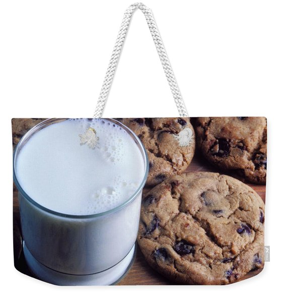 Chocolate Chip Cookies And Glass Of Milk Weekender Tote Bag