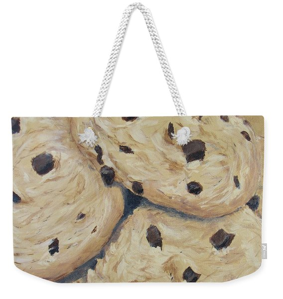Weekender Tote Bag featuring the painting Chocolate Chip Cookies by Nancy Nale