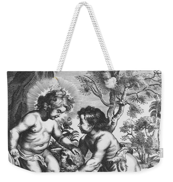 Christ And John The Baptist  Behold The Lamb Of God Weekender Tote Bag