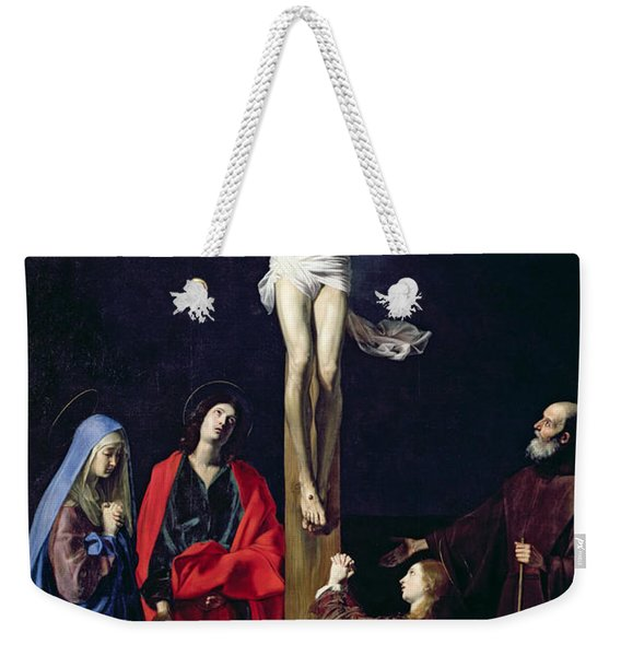 Christ On The Cross With The Virgin Mary Magdalene St John And St Francis Of Paola Weekender Tote Bag