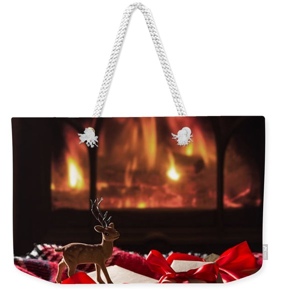 Christmas Gifts By The Fireplace Weekender Tote Bag