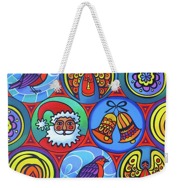 Christmas In Circles Weekender Tote Bag