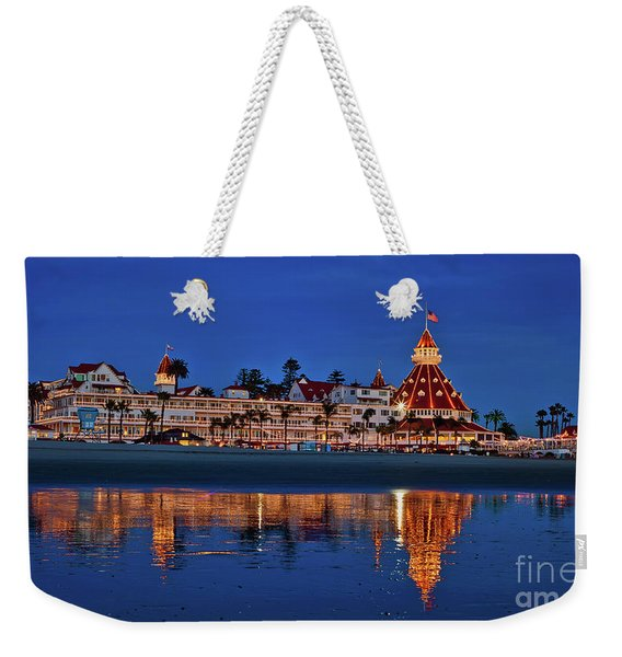 Weekender Tote Bag featuring the photograph Christmas Lights At The Hotel Del Coronado by Sam Antonio Photography
