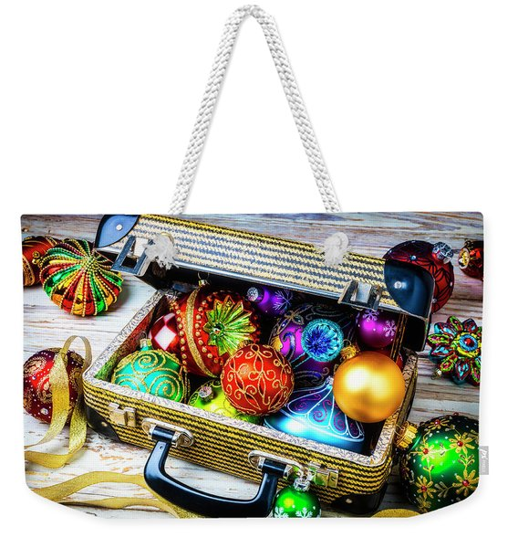 Christmas Ornaments In Small Suitcase Weekender Tote Bag